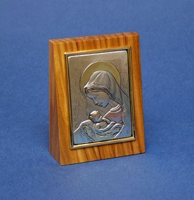 Gospa s djetetom - srebro na drvu