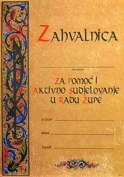 Zahvalnica - ZA1