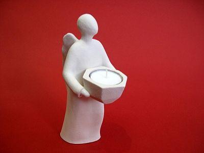 Anđeo glasnik - keramički svijećnjak (19,5 cm)