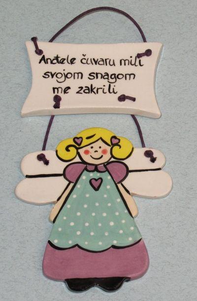 Ukrasna keramička pločica - Anđele čuvaru mili