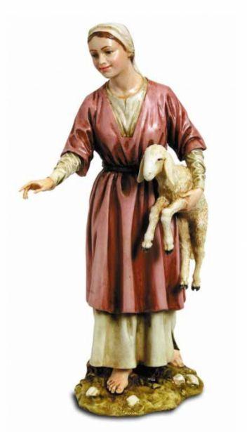 Božićne jaslice - Mlada pastirica i janje - 20 cm