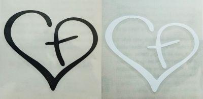 Naljepnica za automobil - križ u srcu