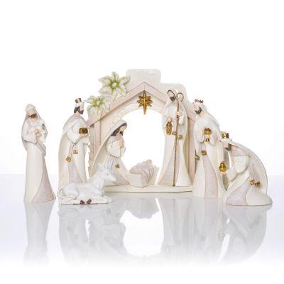 Božićne jaslice - komplet 9 figura + štalica