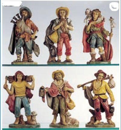 Božićne jaslice - set 6 pastira - 30 cm