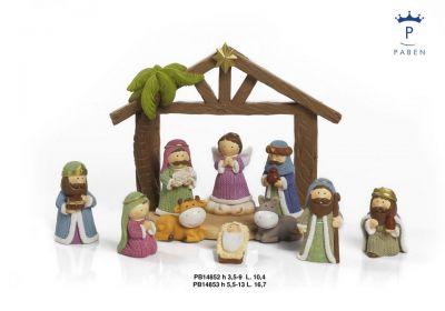 Božićne jaslice - komplet figura sa štalicom