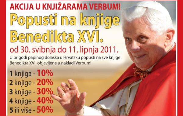 Prigodni popust na knjige pape Benedikta XVI. samo u knjižarama Verbum