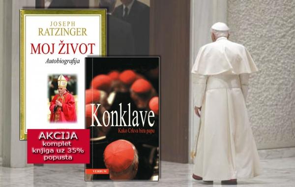"""Nova akcija u knjižarama Verbum – autobiografija Benedikta XVI. """"Moj život"""" i knjiga """"Konklave"""" dostupne u kompletu uz popust samo do 28. veljače"""