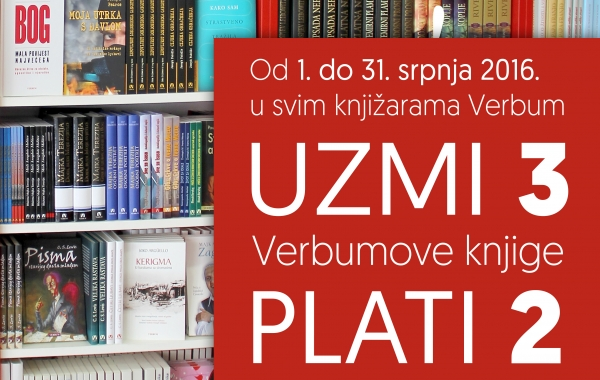 """Ljetna akcija u knjižarama Verbum  """"Uzmi 3 – plati 2""""!"""