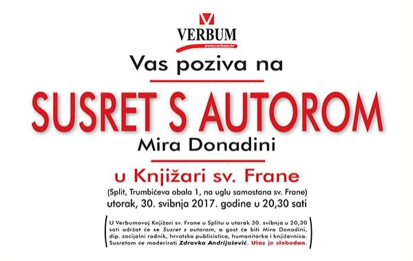 """Mira Donadini gošća Verbumova """"Susreta s autorom"""" 30. svibnja u Splitu"""